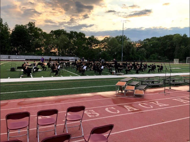 Hills band members perform Monday at their first concert in 17 months.