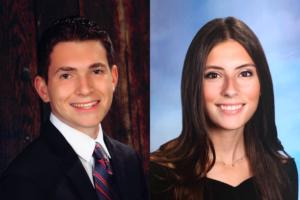 Senior portraits of valedictorian Noah Hirshfield and salutatorian Jenna Golub.