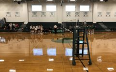 The JV volleyball teams at Pascack Hills and Pascack Valley prepare for their game.